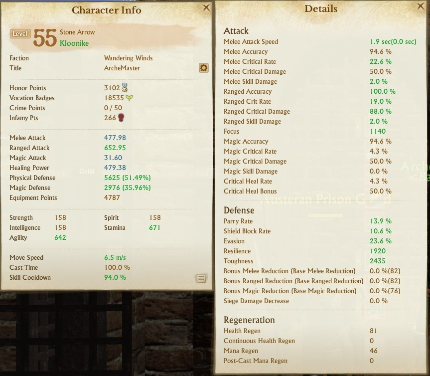 Stone Arrow stats with anti melee gear